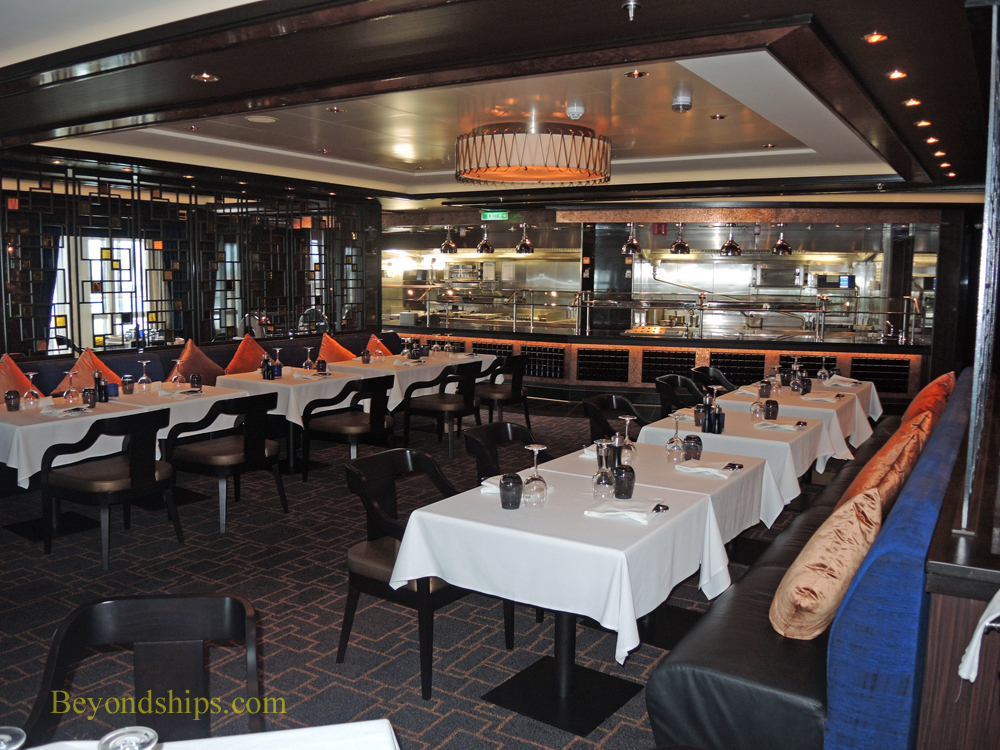 Looking towards the open front kitchen at Cagney's steakhouse on Norwegian Escape.