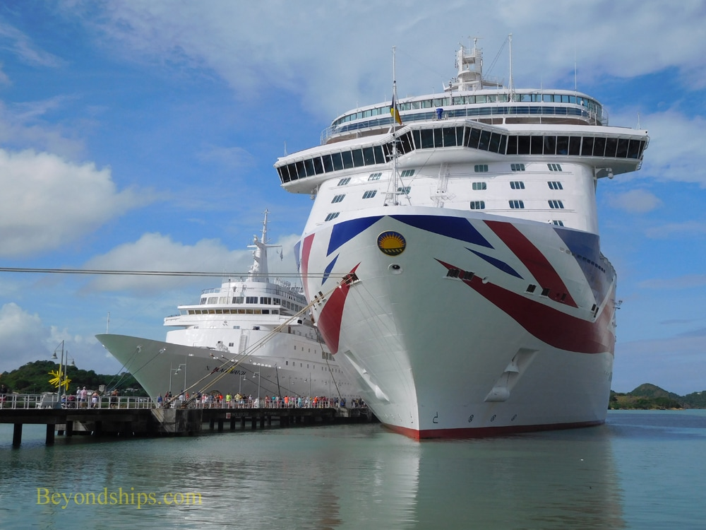 Cruise ships' Britannia and Black Watch in Antigua