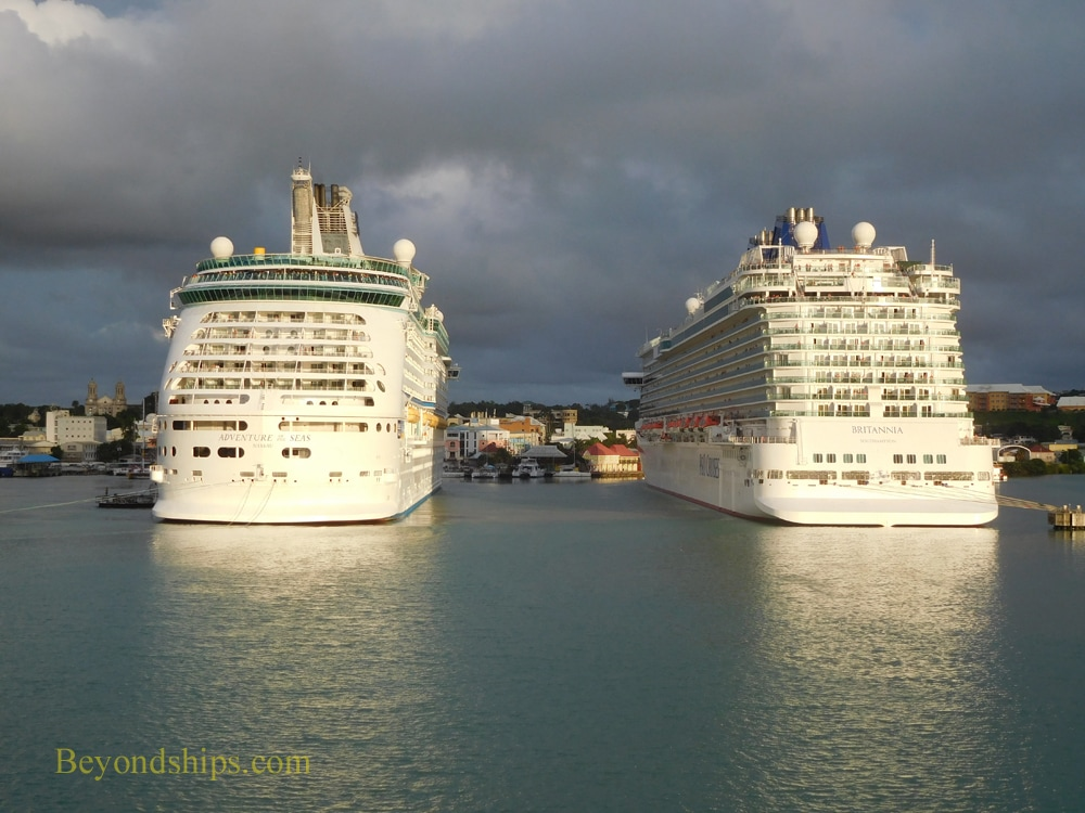 Adventure of the Seas and Britannia in Antigua