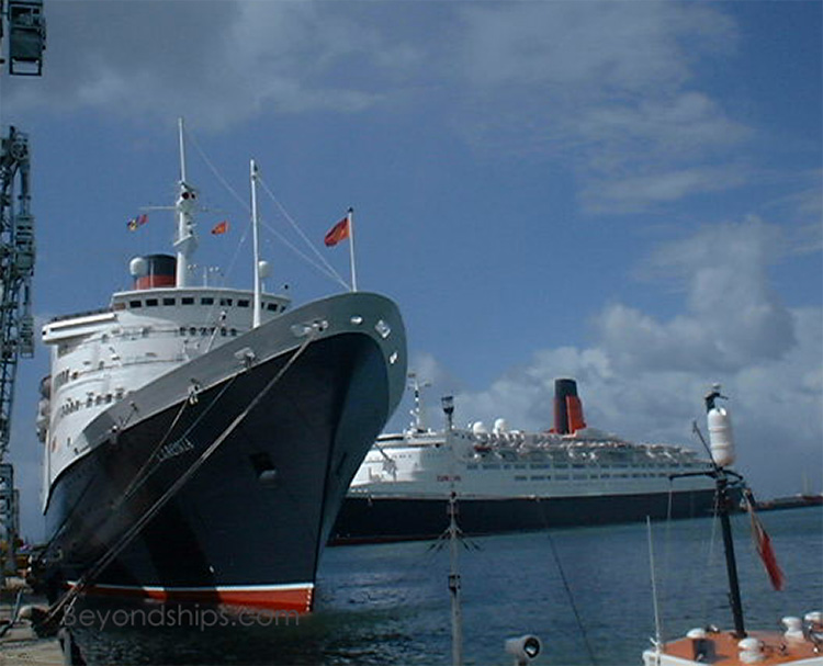 Caronia, cruise ship, and QE2, Queen Elizabeth 2, ocean liner, in Barbados