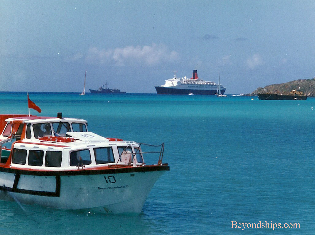 QE2 (Queen Elizabeth 2) ocean liner, and warship off St. Thomas