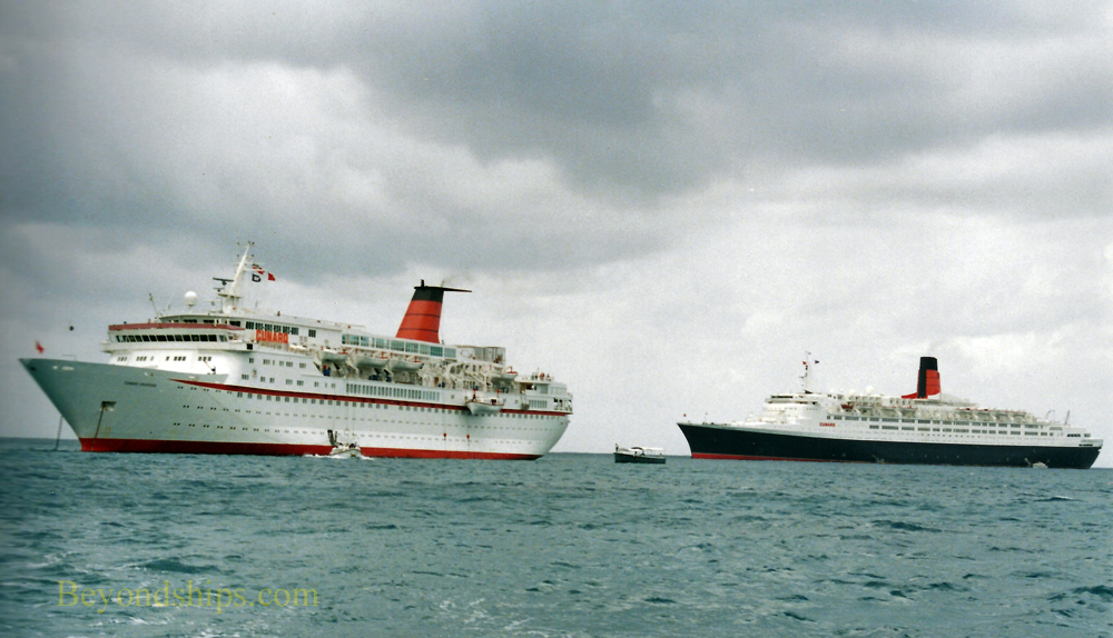 Cunard Countess, cruise ship, and QE2, Queen Elizabeth 2, ocean liner