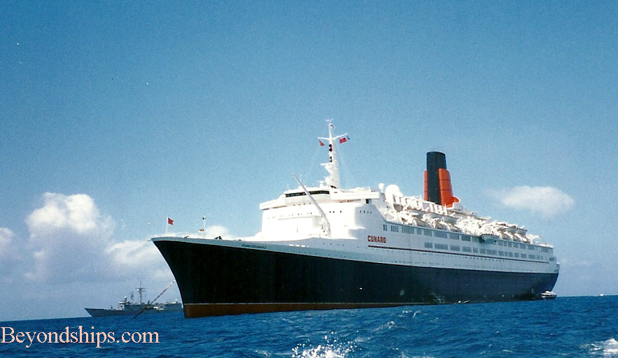 QE2 (Queen Elizabeth 2) ocean liner, accompanied by warship