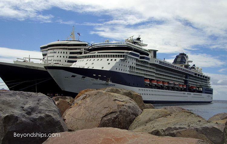 Cruise ships Celebrity Constellation and Queen Mary 2