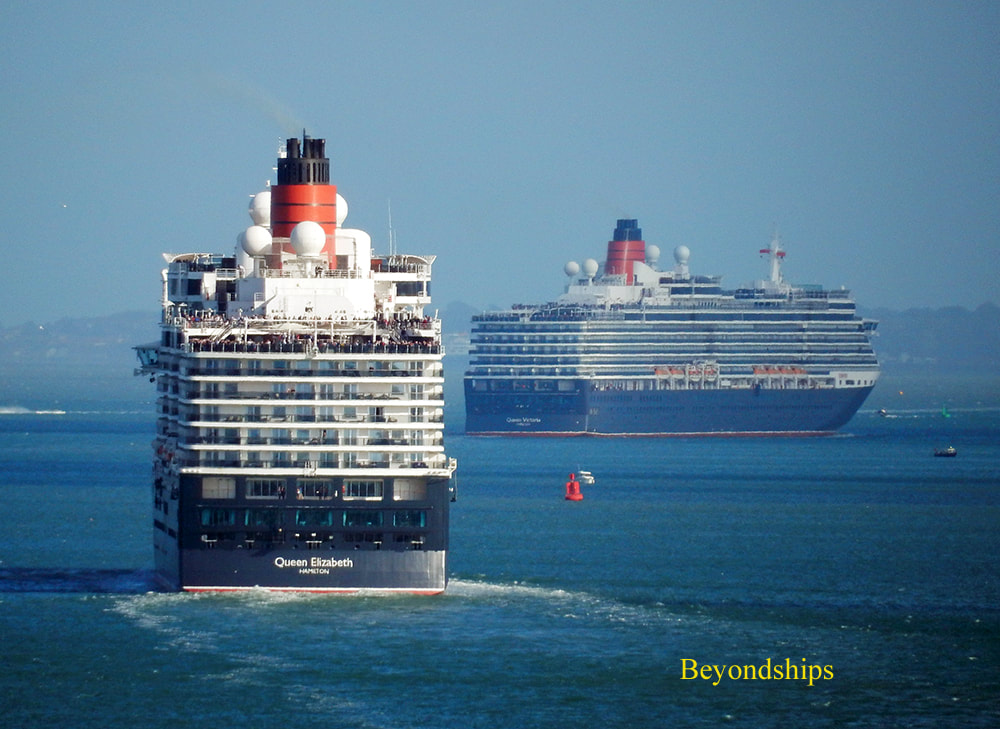 Cruise ships Queen Elizabeth and Queen Victoria in Southampton