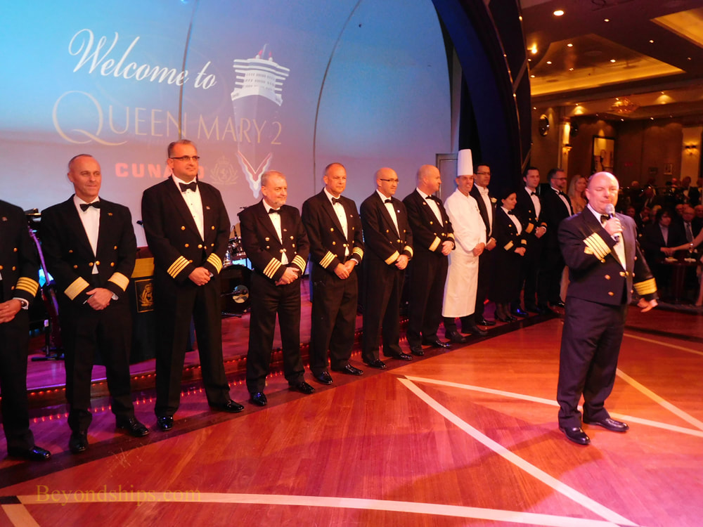 Captain and officers of Queen Mary 2