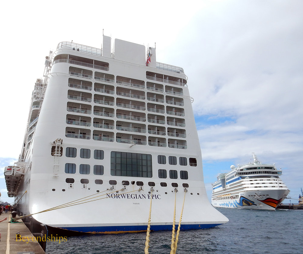 Cruise ships AIDAdiva and Norwegian Epic