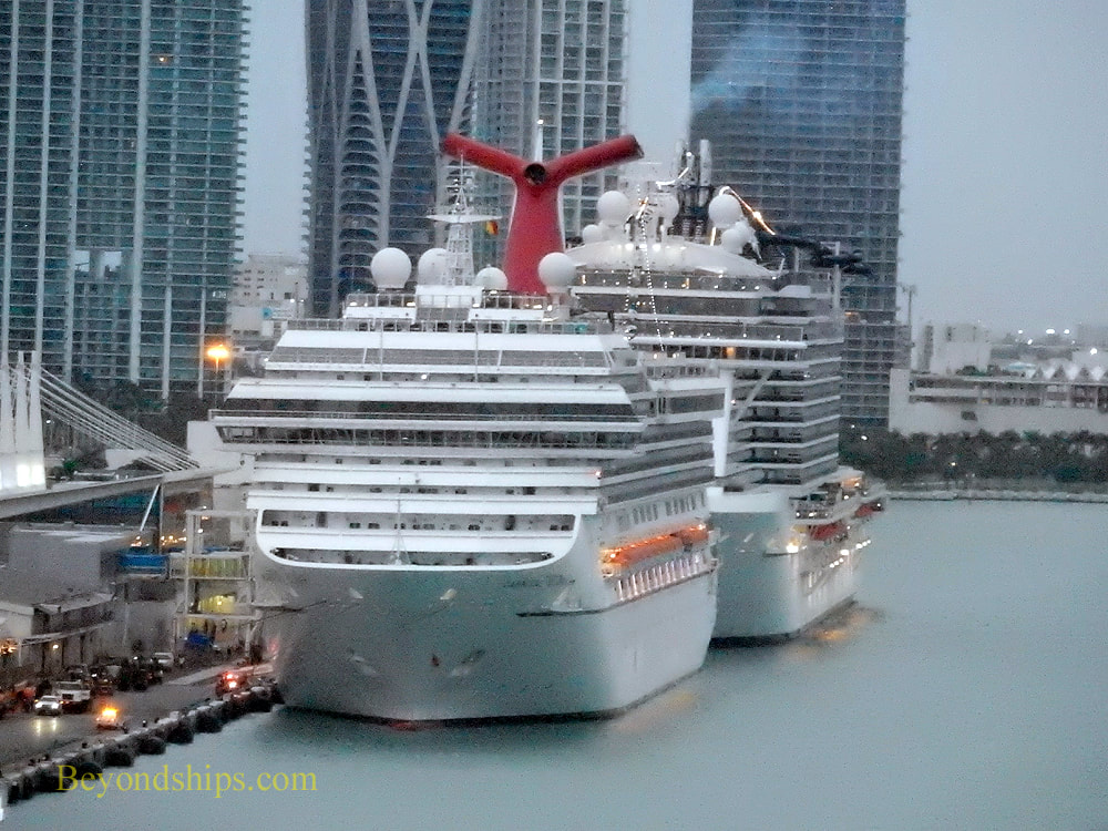 Cruise ships Carnival Glory and MSC Seaside