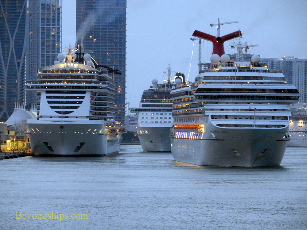 Cruise ships Carnival Glory, MSC Seaside and Celebrity Equinox